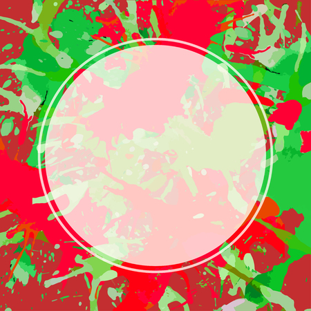 Template with semi-transparent white circle over bright colorful red and green artistic paint splashes, ready for your text. Illustration