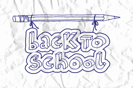 Hand drawn doodle Back to School blue words hanging on a pencil over white crumpled paper. 向量圖像