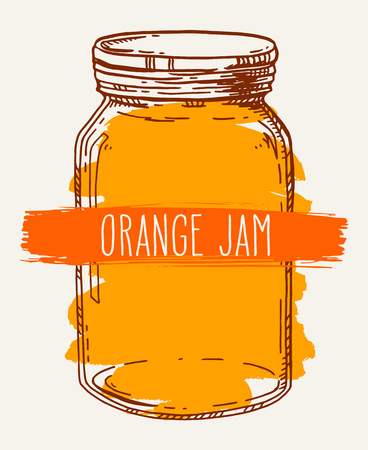 old fashioned: Hand drawn illustration with vintage orange jam glass jar. Colored vector sketch isolated over white.