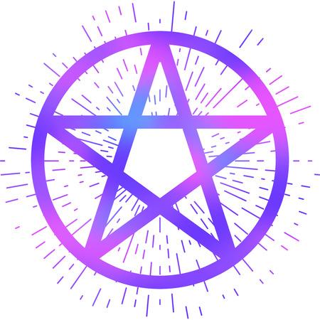 Pentagram Icon Brush Drawing Magic Occult Star Symbol Vector