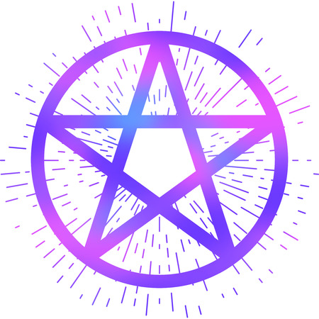 Pentagram icon, brush drawing magic occult star symbol. Vector illustration in vibrant purple isolated over white.