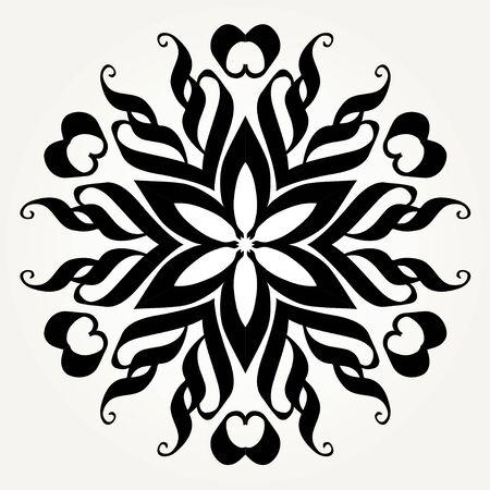 Ornate doodle round rosette in black over white backgrounds. Illustration