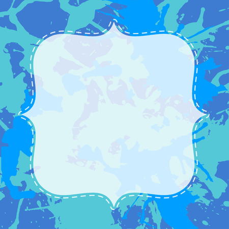Template with semi-transparent white vintage frame over bright blue colorful artistic paint splashes, ready for your text.