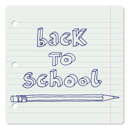 Hand drawn doodle Back to School blue words and a pencil over lined notebook sheet.