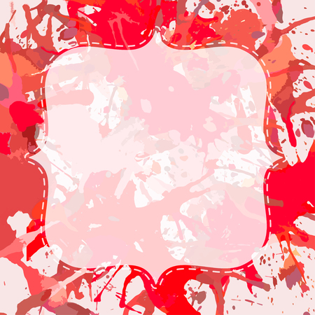 ink stain: Template with semi-transparent white vintage frame over bright red colorful artistic paint splashes, ready for your text. Illustration