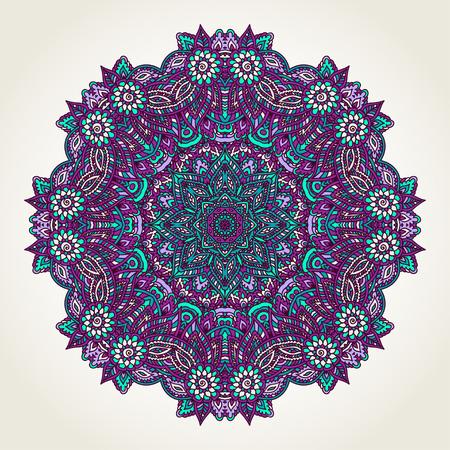 Ornate lacy doodle floral round rosette over white backgrounds. Hand drawn teal, blue and purple mandala. Ilustração