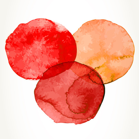 ink stain: Three hand drawn colorful red and orange watercolor circles, isolated over white. Illustration