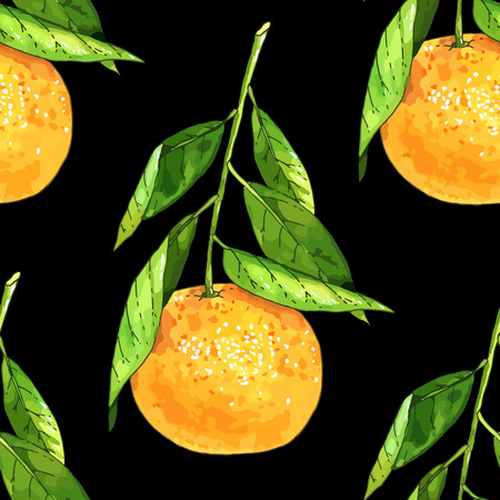 Hand drawn tangerine fruit seamless pattern. Colored vector illustration over black background.