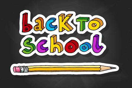 Hand drawn doodle Back to School multicolor words and a pencil over black chalkboard. 向量圖像