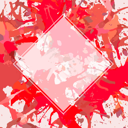 Template with semi-transparent white square over bright red colorful artistic paint splashes, ready for your text.