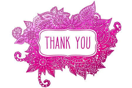 Colored ornate floral doodle frame isolated on white with hand drawn words thank you on it. Illustration