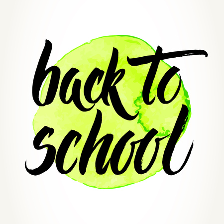 Back to school words hand written by brush, black over yellow-green watercolor circle.