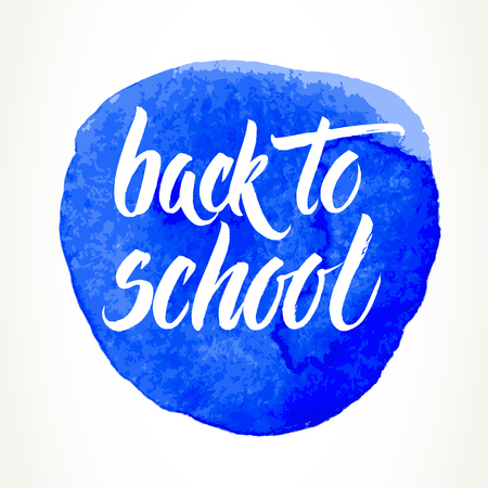 Back to school words hand written by brush, white over blue watercolor circle. Çizim