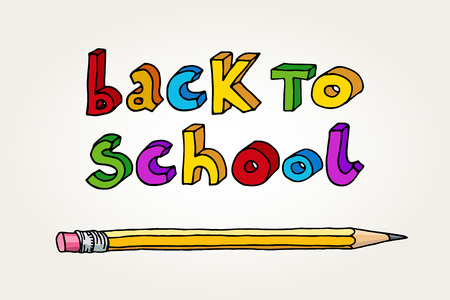 intermediate: Hand drawn doodle Back to School multicolor words and a pencil.