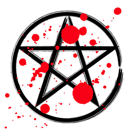 Pentagram icon, brush drawing magic occult star symbol in a circle with drops of blood. Vector illustration in black and red isolated over white.