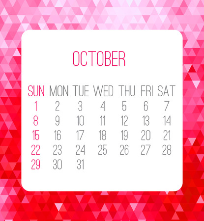 planner: October 2017 vector calendar. Week starting from Sunday. Contemporary low poly design in hot pink color.