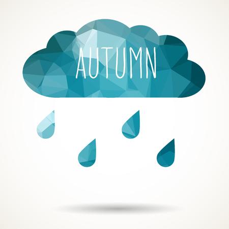 rainy season: Abstract colorful geometric triangular cloud with raindrops and hand drawn word Autumn.