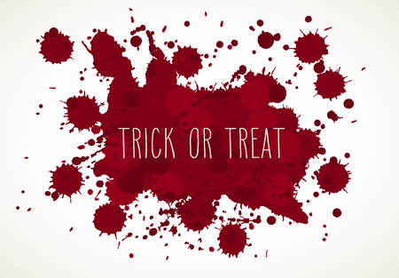 Halloween blood splatter background, isolated on white, with hand drawn words Trick or Treat.