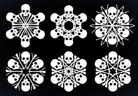 黒の背景に分離された白の骨と頭蓋骨のベクトル シルエット雪片のセットです。