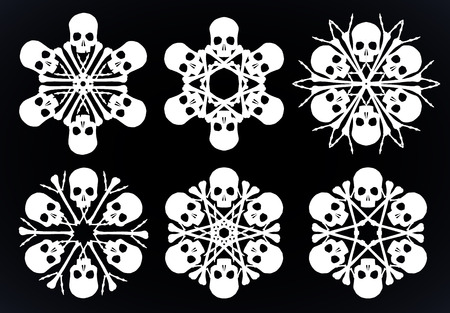 Set of vector silhouette snowflakes made of skulls and bones in white isolated over black background.