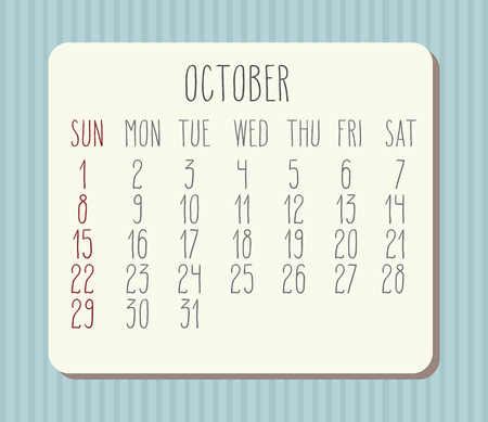 planner: October 2017 vector calendar with hand drawn text over pastel blue striped background. Week starting from Sunday.
