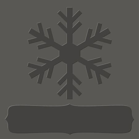 Blank letterpress frame with a snowflake over grey background for your Christmas text. Ilustrace