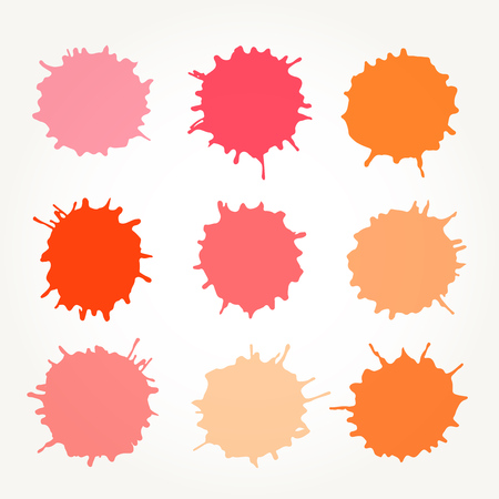 Set of vector abstract artistic paint splashes and drops. Red and orange ink blots over white background.