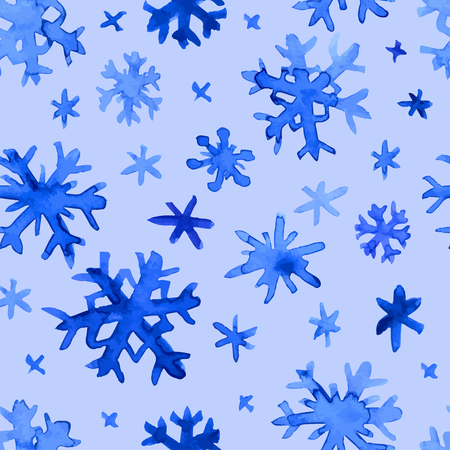 Hand drawn doodle watercolor snowflakes seamless pattern.