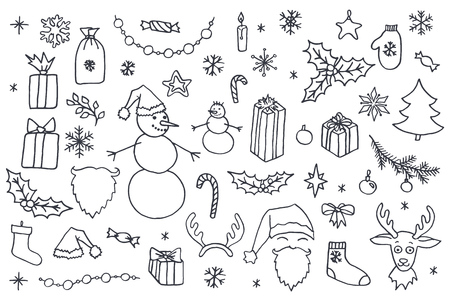 Set of Christmas hand drawn doodle elements in black over white background. Santa, Christmas tree, reindeer, snowman, snowflakes, gifts, decorations, holly, candle, stars.