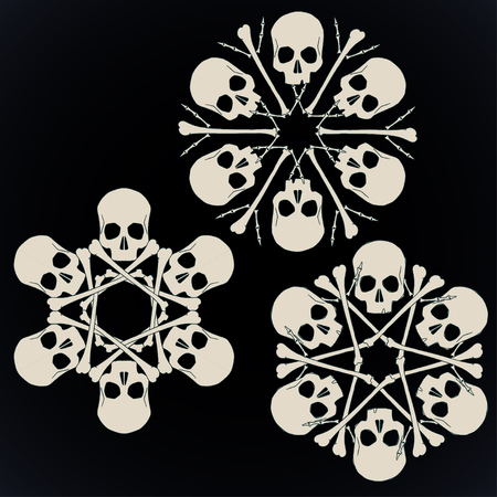 Set of vector snowflakes made of skulls and bones in beige isolated over black background.