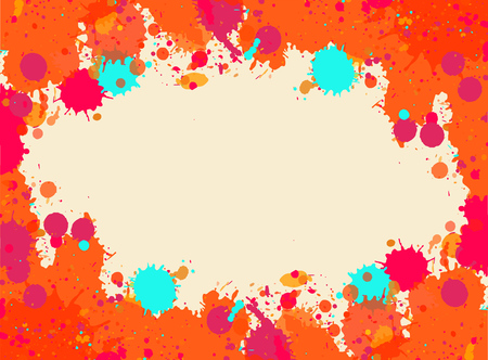 텍스트에 대 한 방 베이지 색 수채화 예술 밝아진 프레임 위에 활기찬 밝은 오렌지. 벡터 일러스트 레이 션, 가로 형식입니다.