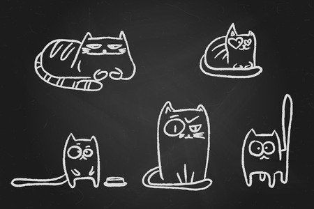 Hand drawn chalk sketches of funny cats over black chalkboard. Stock Illustratie