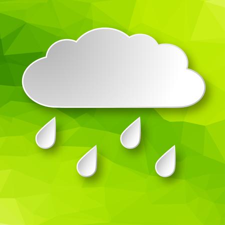 Papel 3d que llueve la nube sobre fondo geométrico abstracto verde.