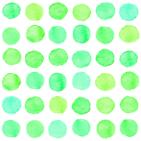 Seamless hand drawn watercolor pattern made of round green dots, isolated over white. Illustration