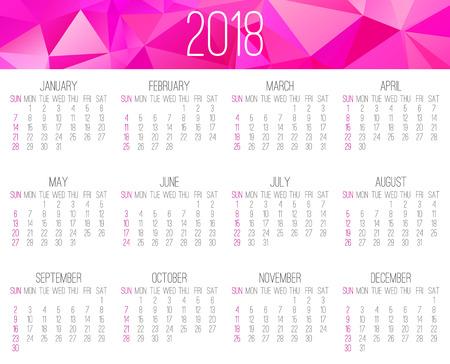 Year 2018 monthly calendar template design. Illustration