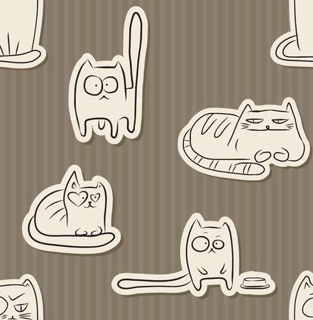 Muster mit Hand gezeichneten Skizzen des lustigen Tieres über braune Illustration des Vektors Standard-Bild - 91868514