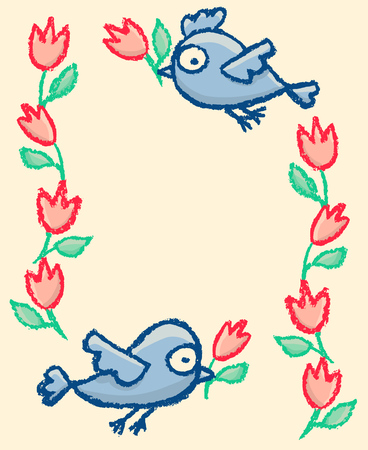 Cute little hand drawn funny blue birds and flowers frame.