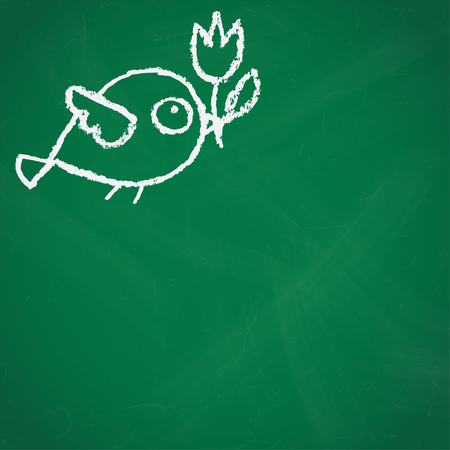 Cute little hand drawn bird with flower illustration in white over green chalkboard.