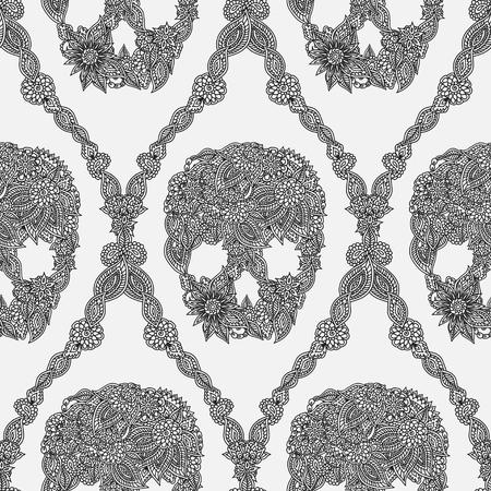 落書き花の頭蓋骨ダマスクパターン。  イラスト・ベクター素材