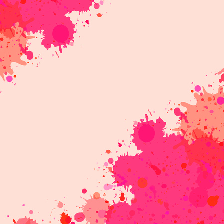 Vibrant bright pink watercolor artistic splashes frame with room for text.