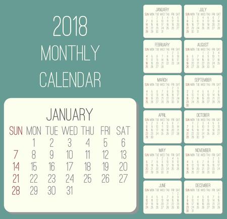 Year 2018 plain contemporary monthly calendar.