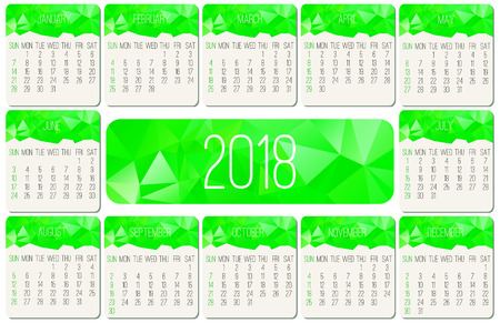 Year 2018 monthly calendar.