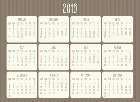 Year 2018 monthly hand drawn calendar. Иллюстрация