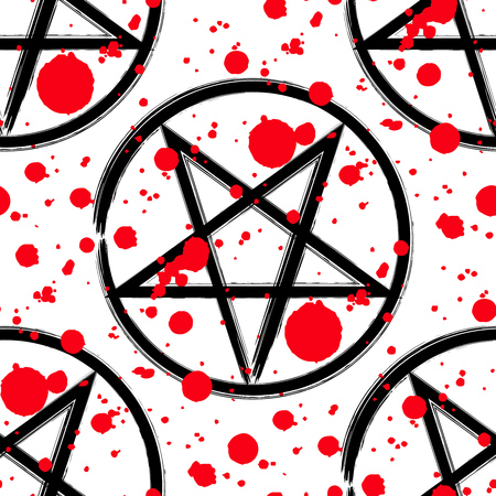 Pentagram Pattern Brush Drawing Magic Occult Star Symbol With