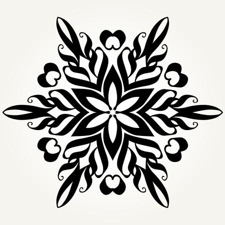 Ornate doodle round rosette in black over white template pattern design. 向量圖像
