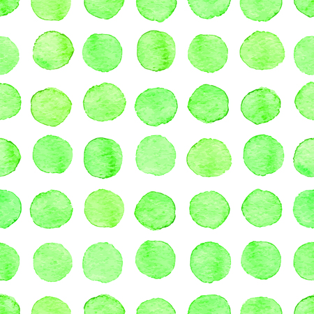 Hand drawn watercolor pattern made of round green dots template pattern design.