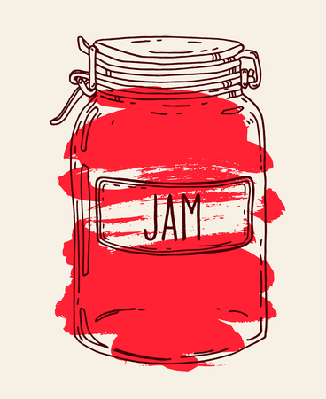 Hand drawn illustration with vintage red berry jam glass jar.