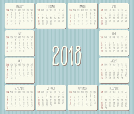 Year 2018 monthly hand drawn calendar. Illustration