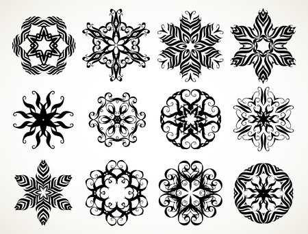 Set of ornate lacy doodle floral round rosettes in black over white illustration.