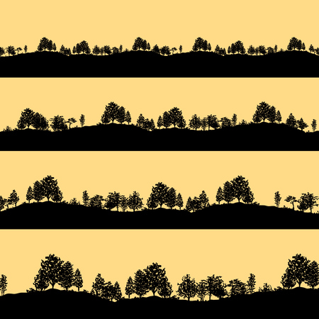 Deciduous forest trees black silhouettes template pattern design. Ilustrace